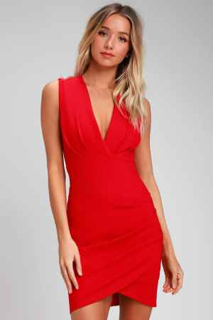Lulus wrap red dress