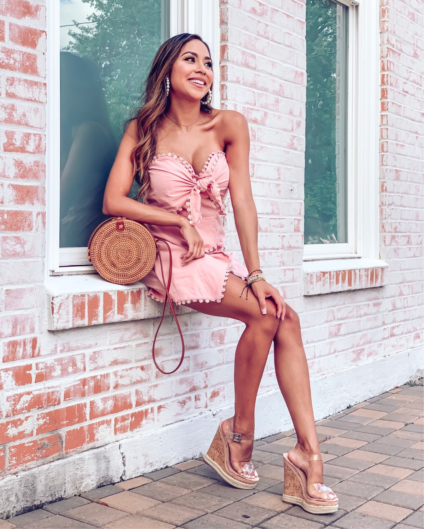 Blush strapless romper