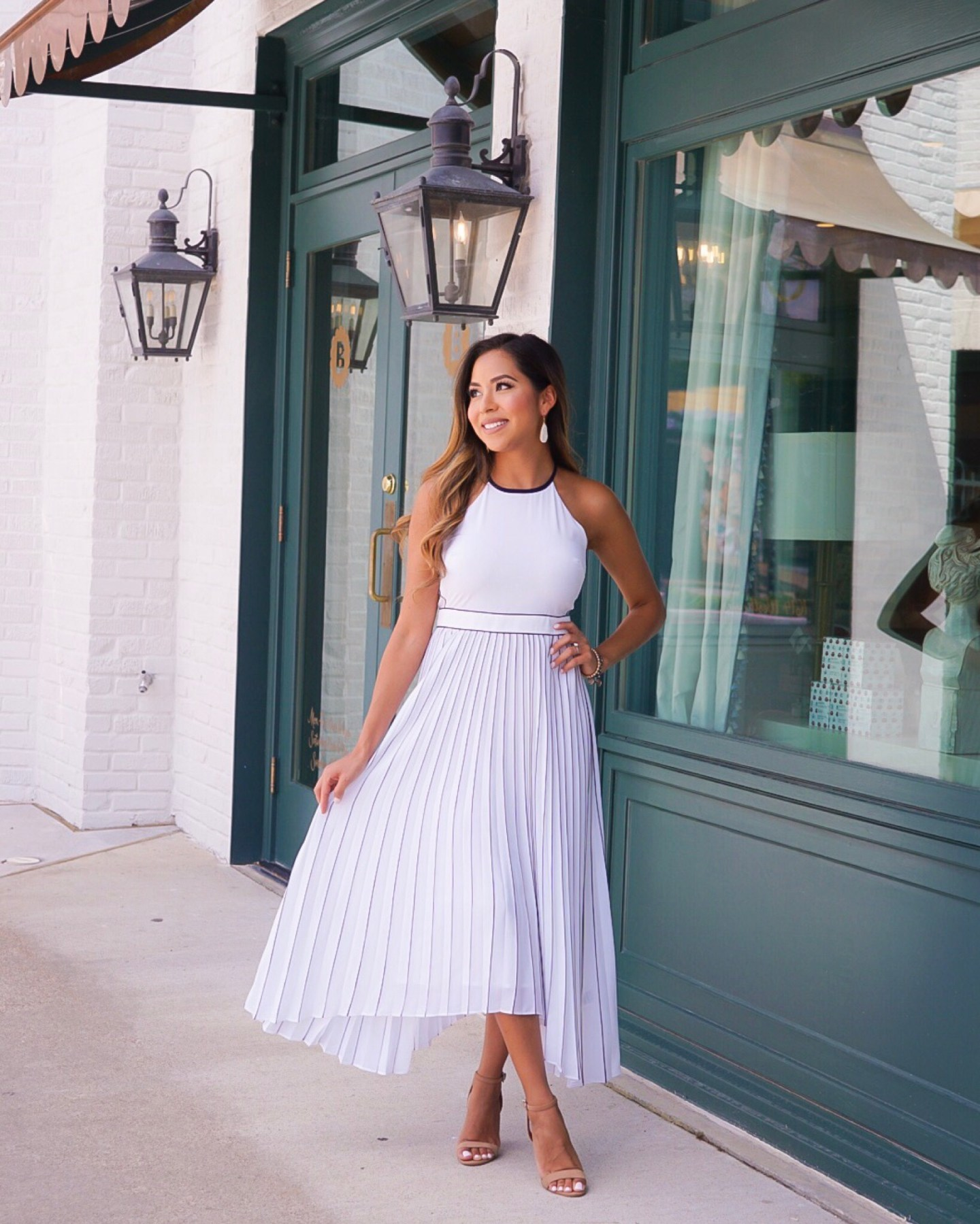 Navy and white pleated dress