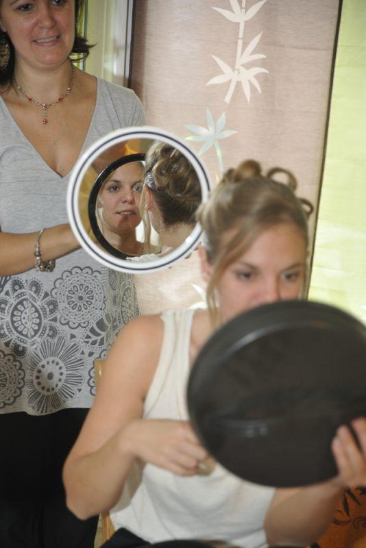 photos des préparatifs coiffure de mariée