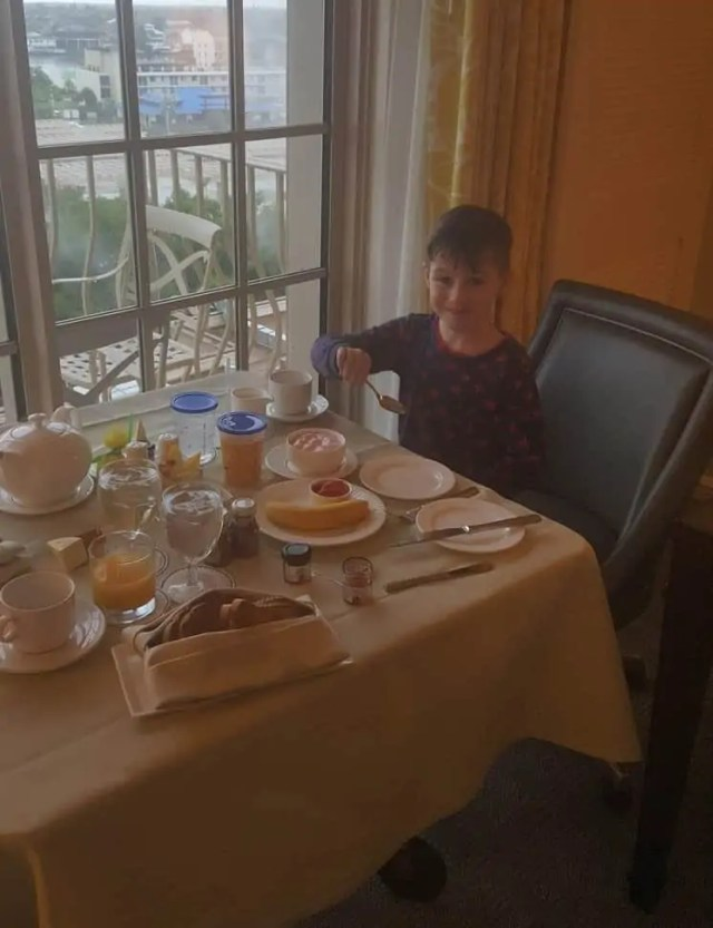 Room service, breakfast at the Ritz Carlton Hotel, Naples Florida