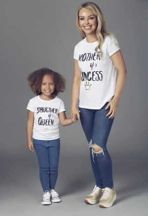 "Katie Piper Matching ""Mother of a Princess"" White T-shirt & Katie Piper Matching Children's ""Daughter of a Queen"" White T-shirt"