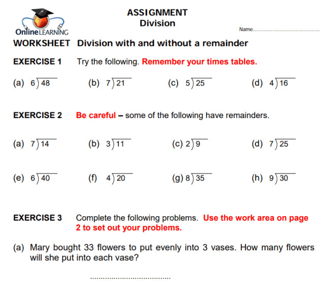 Exemplar Education Worksheet