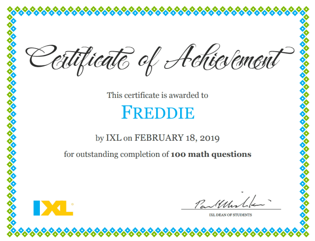 ixl learning certificate