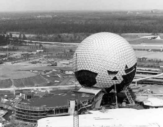 Spaceship Earth under construction in Epcot Center circa 1982, Lake Buena Vista, Florida, Walt Disney World