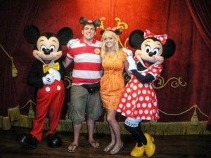 Sarah and Peter Brookhart with Mickey Mouse and Minnie Mouse at Walt Disney World