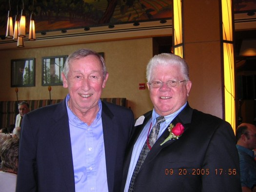 Roy E. Disney with Tom Nabbe at his Disney Legend induction dinner held at the Napa Rose in The Grand Californian Hotel. Note Disney Imagineering Legend, X. Atencio