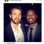 Chris Evans Passes Torch To Micheal B. Jordan At Screening For Capt America 2!