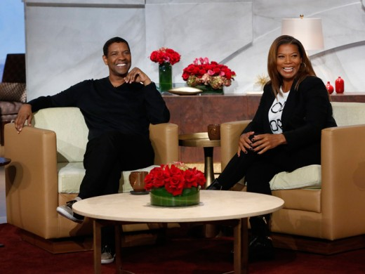Denzel Washington Visits Queen Latifah To Promote The Equalizer In