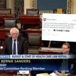 Bernie Sanders Takes Huge Printout of a Donald Trump Tweet to Senate