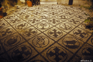 The mosaics of the soil in the old town of Rhodes
