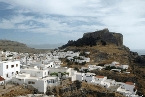 View of Lindos and the Acropolis in the background