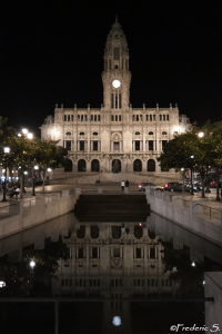 The town hall reflected