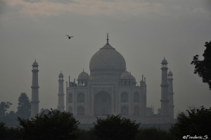 Taj Mahal seen on the other side of the river