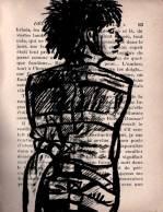 Femme, camisole, encre sur livre, Saïssi