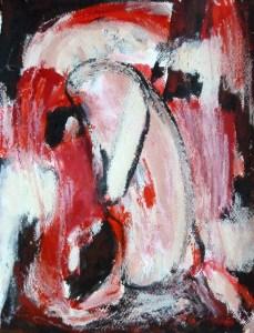 Autoportrait, huile, papier, Blaize