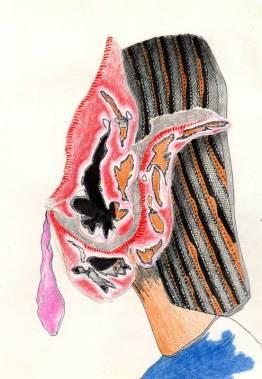 ballon à plat, collage, crayon de couleur, Blaize