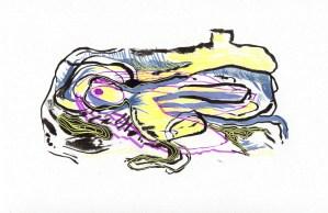 Reptile, encre et stylo, Blaize