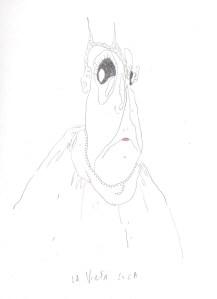 Vieja loca, graphite sur papier, Blaize