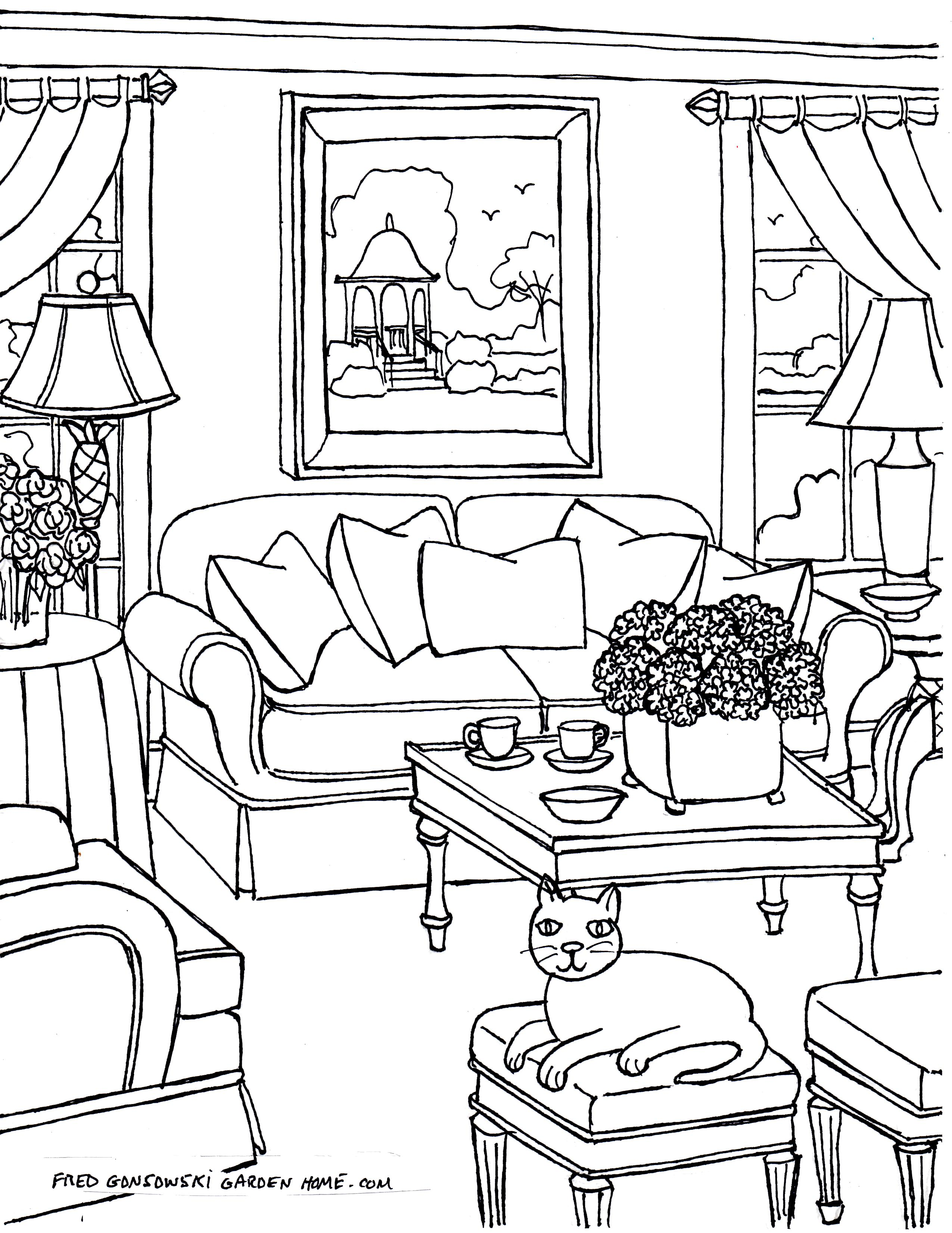 Coloring Pages For Adults… Some Drawings Of Living Rooms For