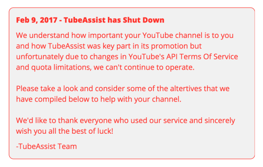 TubeAssist shutdown message