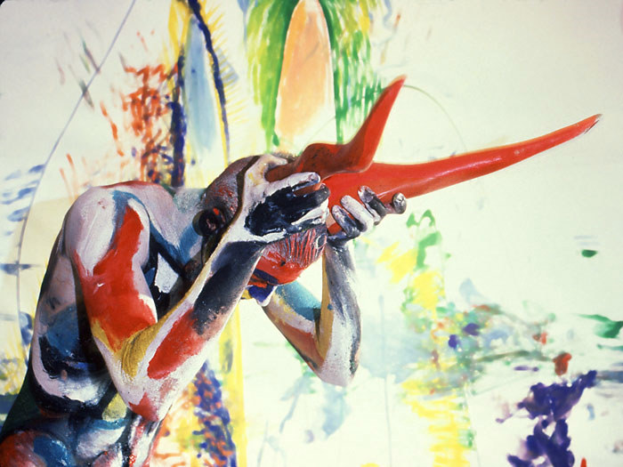 Sinew 26, 1992. Body paint and photo by Fred Hatt.