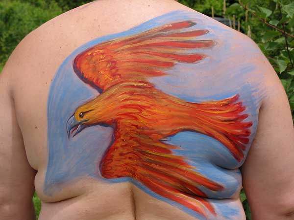 Firebird, 2002, bodypaint and photo by Fred Hatt