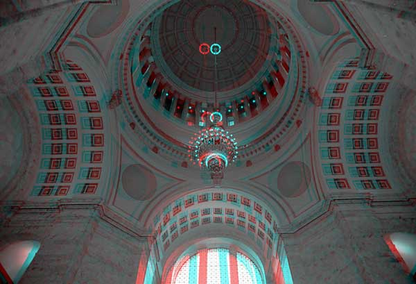 State House Dome, 1993, stereo photo by Fred Hatt