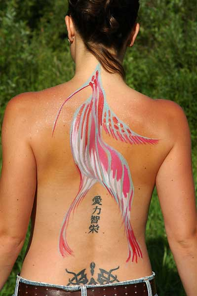 Walking Bird, 2005, bodypaint and photo by Fred Hatt