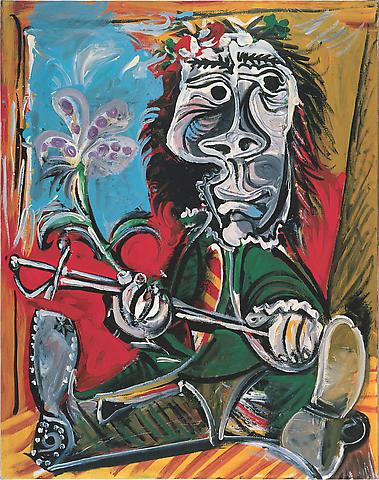 PABLO PICASSO Portait de l'homme à l'épée et à la fleur, 1969, Oil on canvas, 146 x 115 cm)