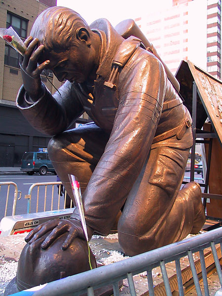 Firefighter Statue, January, 2002, photo by Fred Hatt