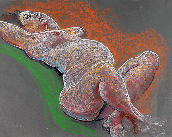 Shifra pregnant crayon sketch 01, 2007, by Fred Hatt