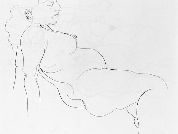 Shifra pregnant pencil sketch 04, 2007, by Fred Hatt