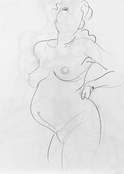 Shifra pregnant pencil sketch 02, 2007, by Fred Hatt