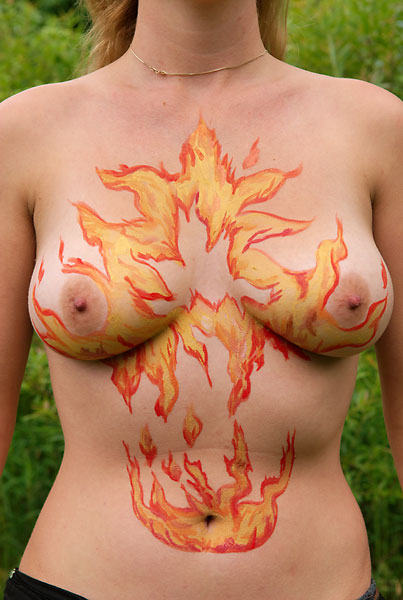 Flames, 2009, bodypaint and photo by Fred Hatt