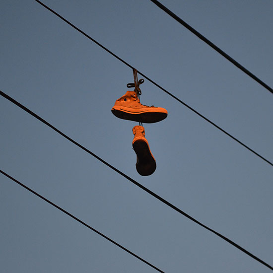 Shoes on the Wire, 2012, by Fred Hatt