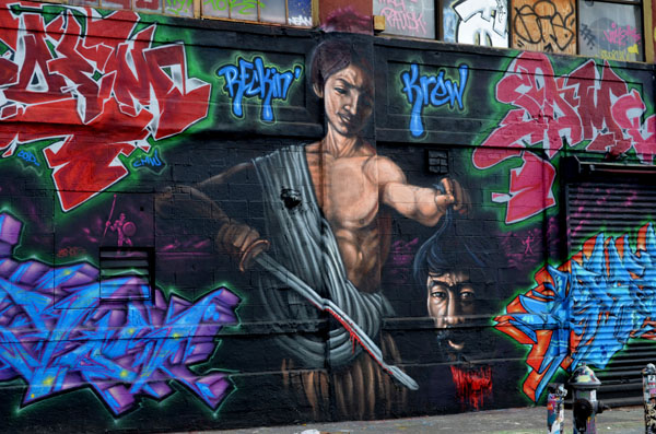 David & Goliath, after Caravaggio, mural by unidentified artist, 5 Pointz, photo by Fred Hatt