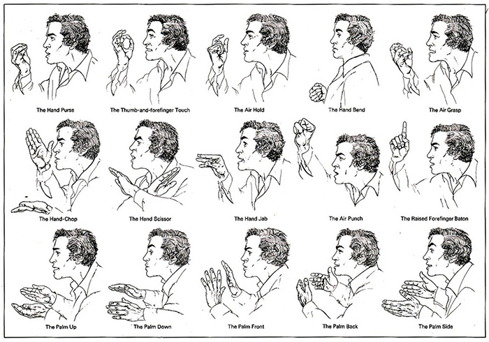 "Baton Gestures, illustration by Priscilla Barrett from ""Manwatching"", 1977, by Desmond Morris"
