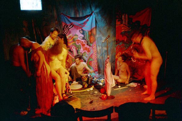"""Frank Moore's """"Free Tribal Hot Skin Passion Music/Dance Jam"""",  Surf Reality, New York City, 2002, photo by Michael LaBash"""
