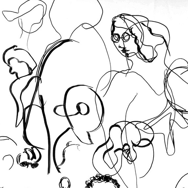 """""""The Active Mirror"""",2003, by Fred Hatt, detail of acetate drawing"""