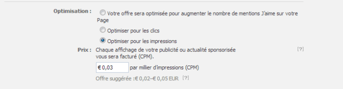 Facebook Ads - Tarification CPM