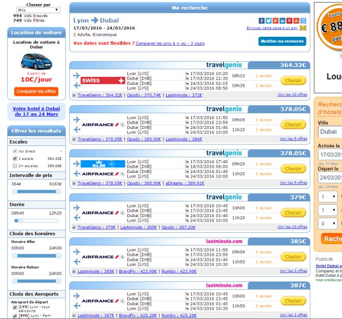 JetCost - Page de Résultat depuis Lyon