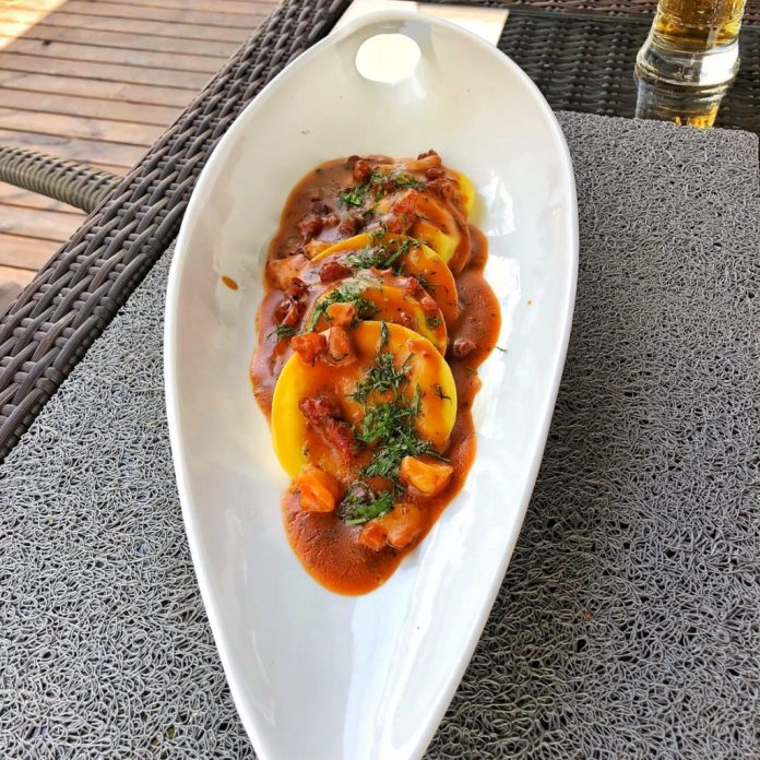 Besame Mucho - Plat Pasta En Picante De Marisco Pasioti - Raviolis aux fruits de mer et piment jaune