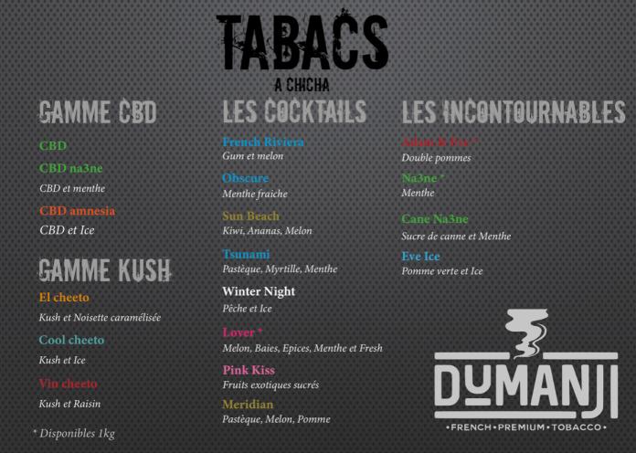 Dumanji - Carte des saveurs , tabacs à chicha