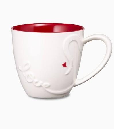 Starbucks City Mug 2014 Valentines Day White With Red Interior Love Mug 14oz From Various