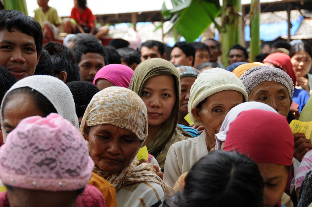 Women waiting for food distribution