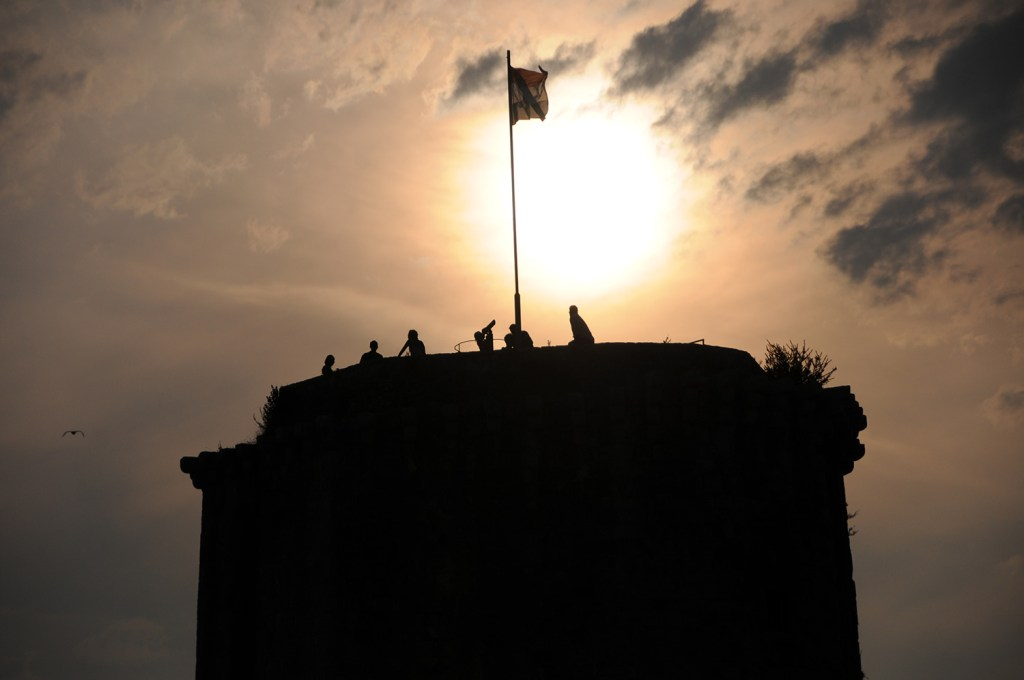 The flag on the tower