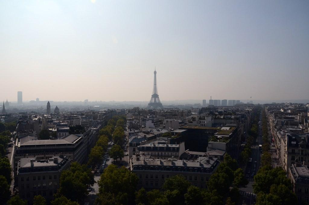 Eiffel tower in the far