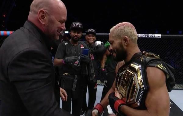 UFC President Dana White with UFC flyweight champion Deiveson Figueiredo