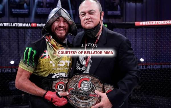 Bellator bantamweight champion Juan Archuleta with Bellator MMA President Scott Coker. Courtesy of Bellator MMA/BZA PR.
